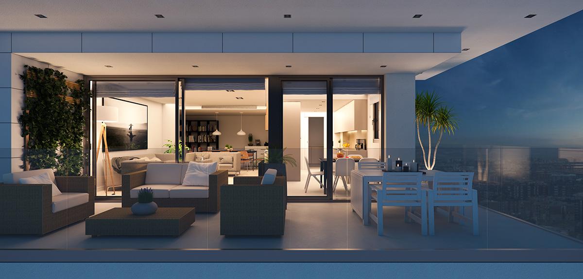 Render interior terrace view block of flats at Lleida by GAYARRE infografia