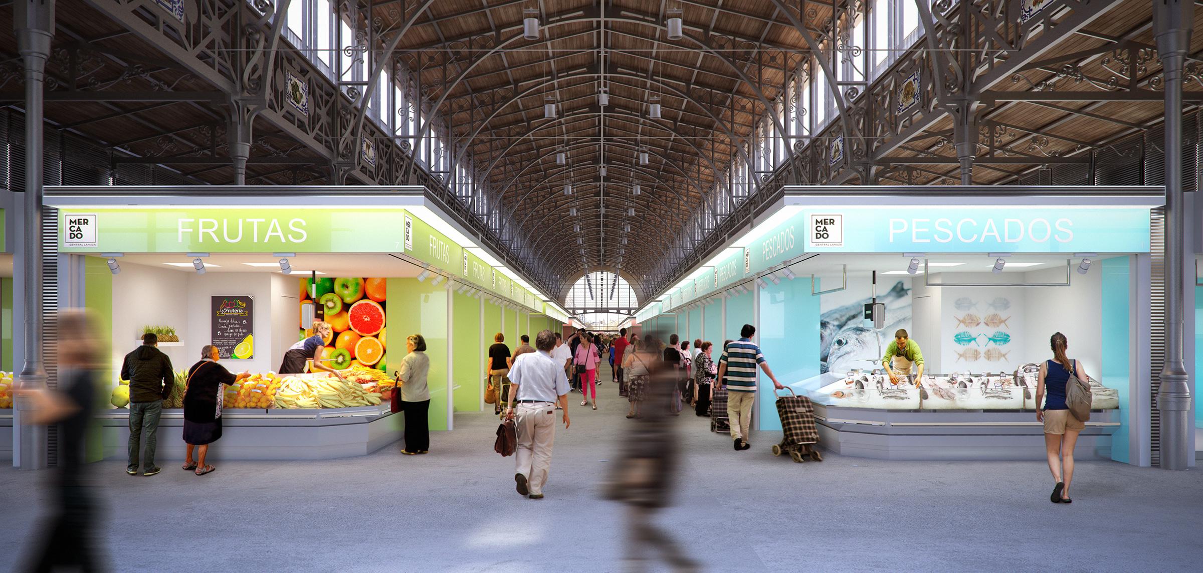Render interior view Central Market Zaragoza by GAYARRE infografia