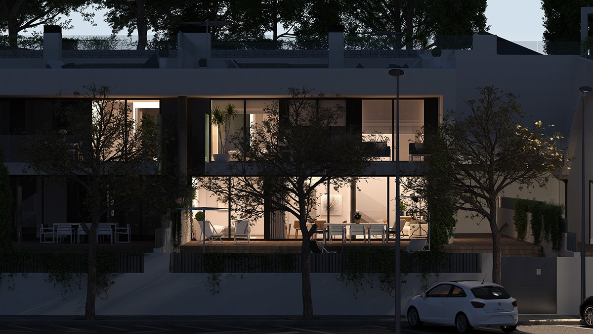 Render exterior night view luxury houses Oxalis at Cambrils by GAYARRE infografia