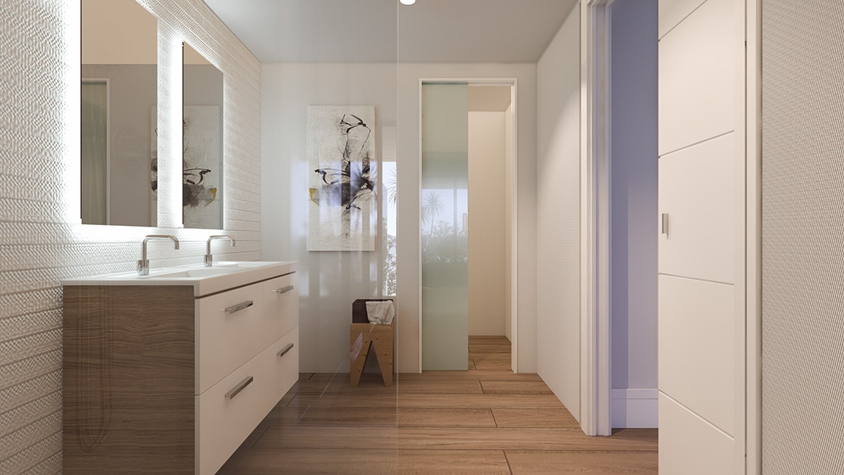 Render interior bathroom view luxury houses Oxalis at Cambrils by GAYARRE infografia