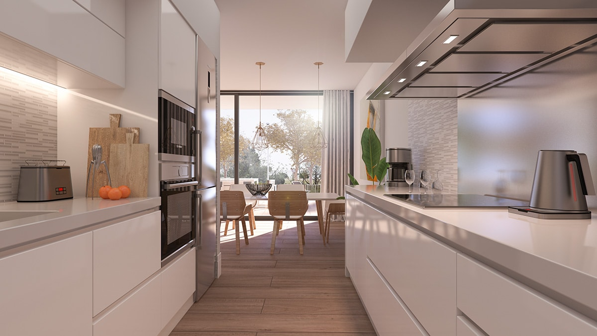 Render interior kitchen view luxury houses Oxalis at Cambrils by GAYARRE infografia