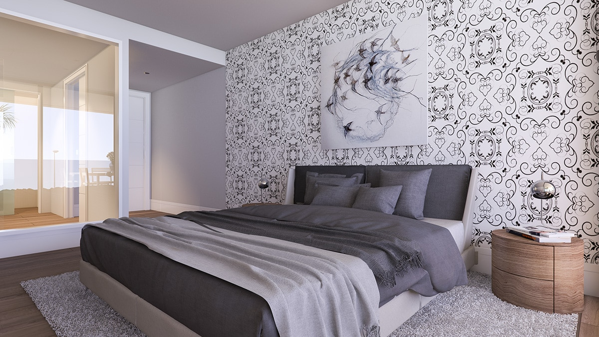 Render interior bedroom view luxury houses Oxalis at Cambrils by GAYARRE infografia