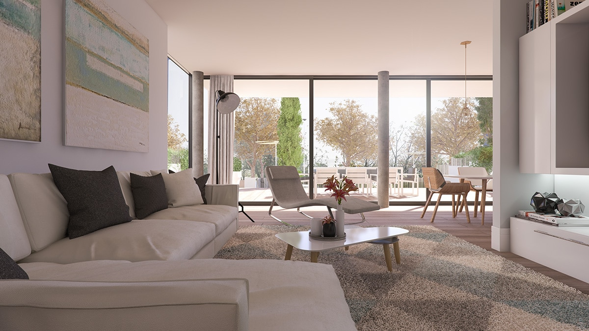 Render interior living room view luxury houses Oxalis at Cambrils by GAYARRE infografia