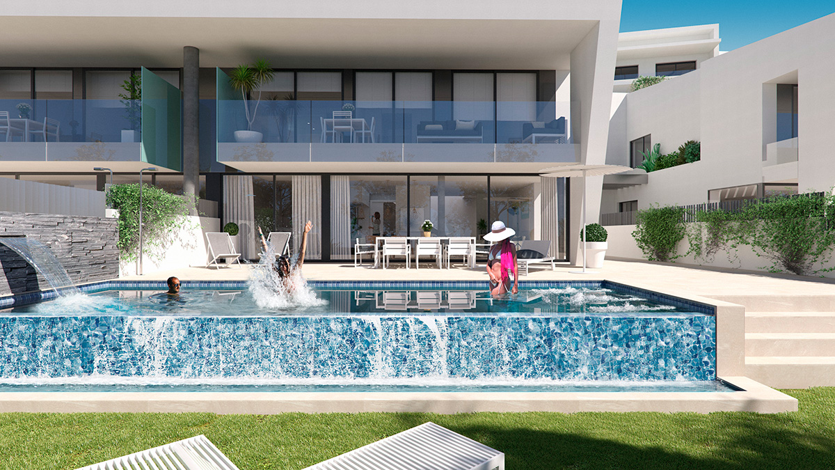 Render exterior view luxury houses Oxalis at Cambrils by GAYARRE infografia