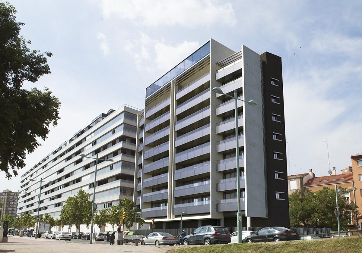 Render exterior photomontage block of flats San Lazaro 3 by GAYARRE infografia