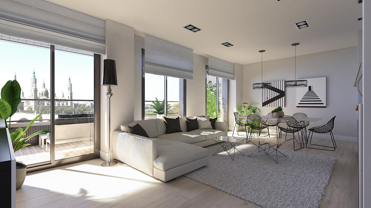 Render living room block of flats San Lazaro 3 by GAYARRE infografia